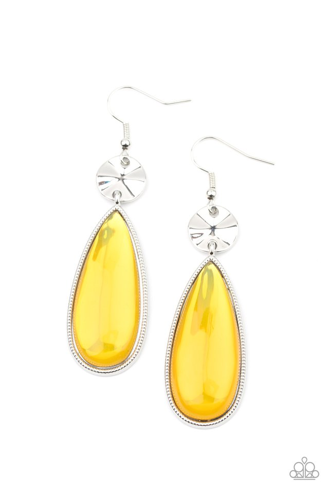 Jaw-Dropping Drama - Yellow - Paparazzi Earring Image
