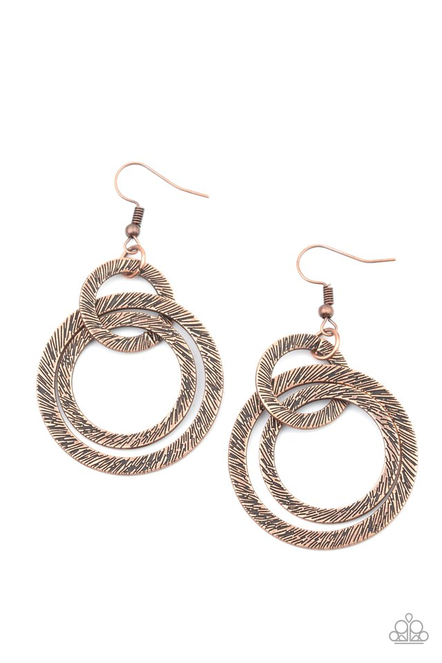 Distractingly Dizzy - Copper - Paparazzi Earring Image