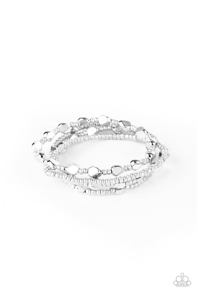 Fashionably Faceted - Silver - Paparazzi Bracelet Image