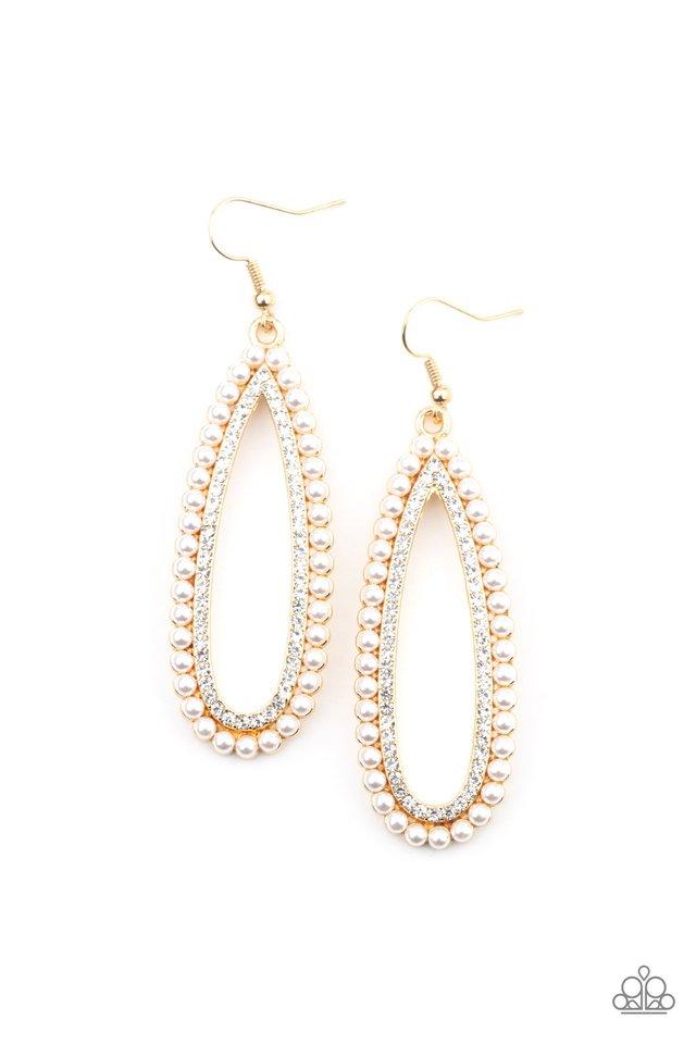 Glamorously Glowing - Gold - Paparazzi Earring Image