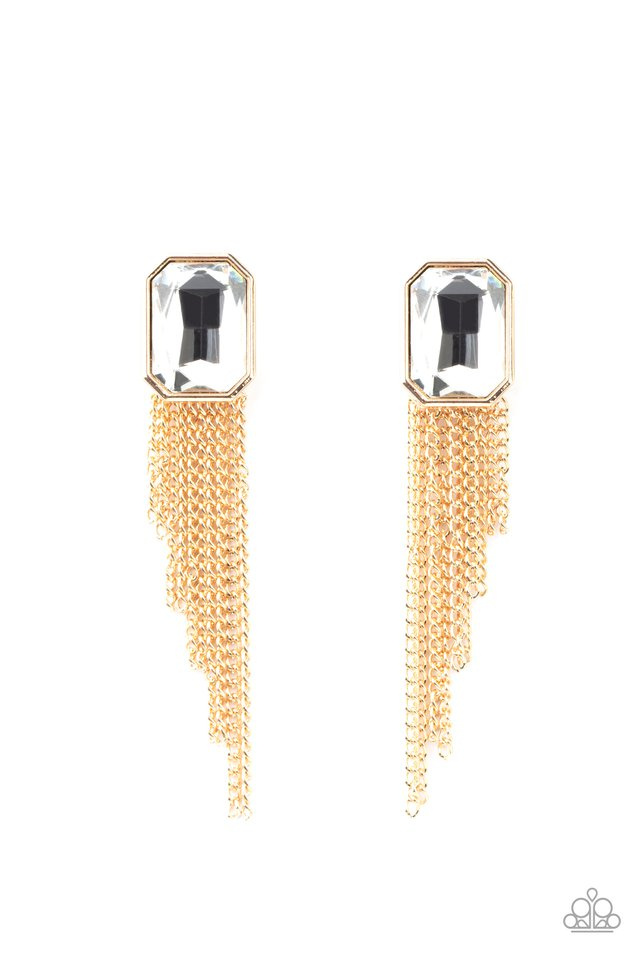Save for a REIGNy Day - Gold - Paparazzi Earring Image