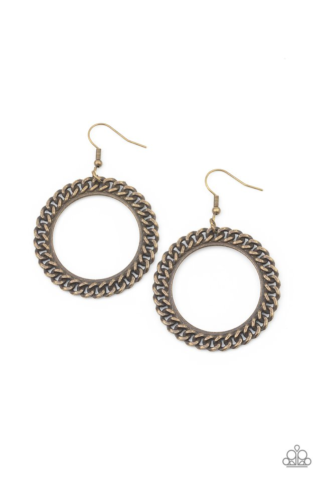 Above The RIMS - Brass - Paparazzi Earring Image