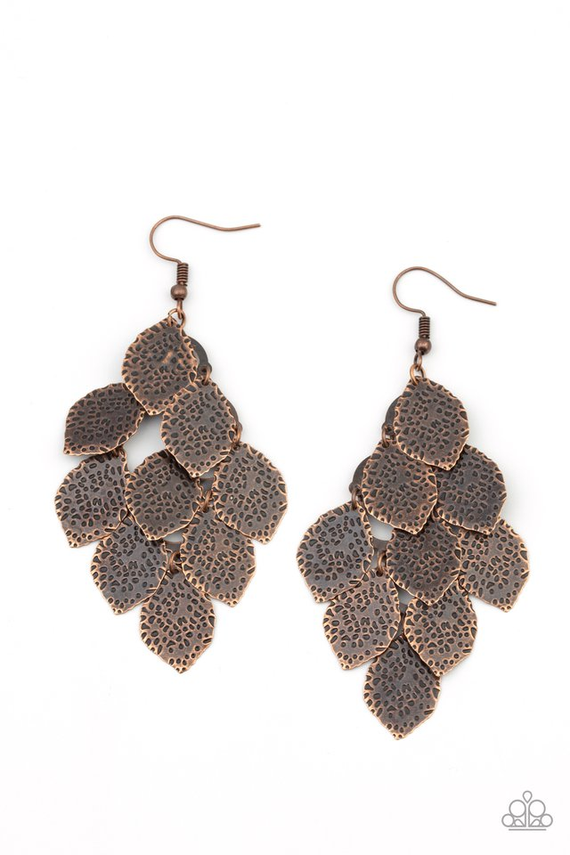 Loud and Leafy - Copper - Paparazzi Earring Image