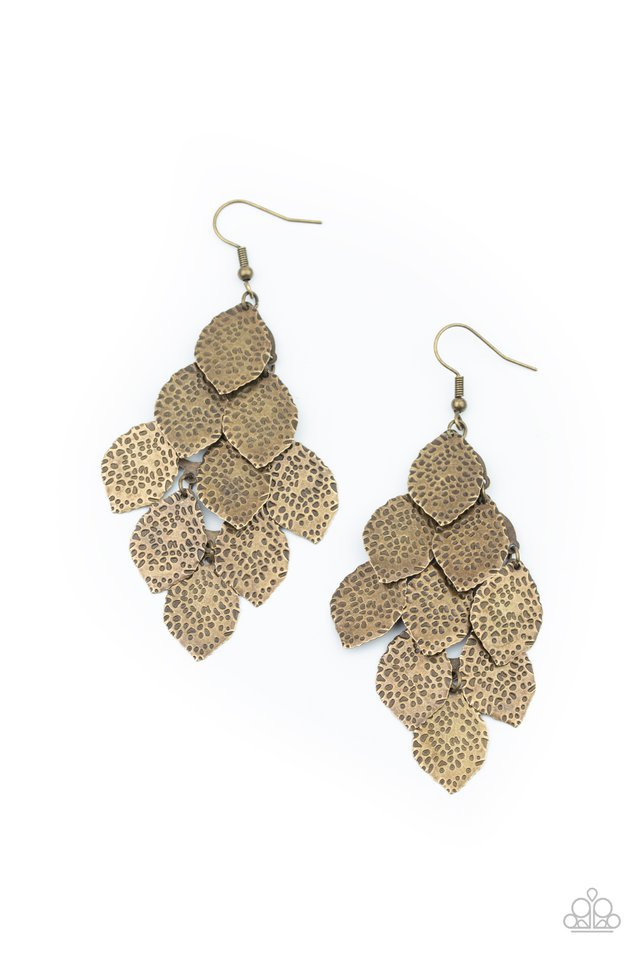 Loud and Leafy - Brass - Paparazzi Earring Image