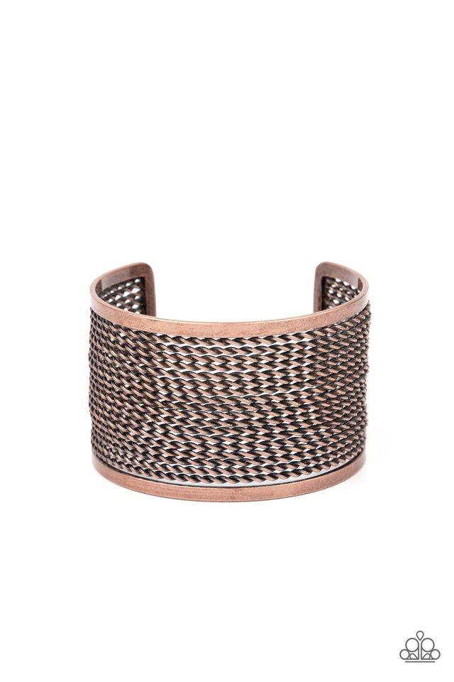 Stacked Sensation - Copper - Paparazzi Bracelet Image