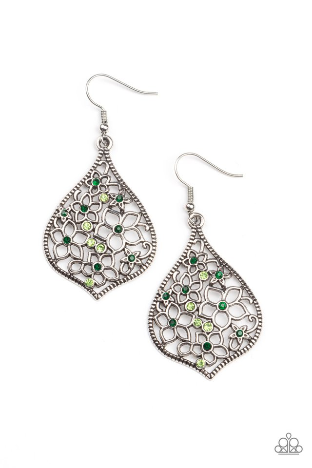 Full Out Florals - Green - Paparazzi Earring Image