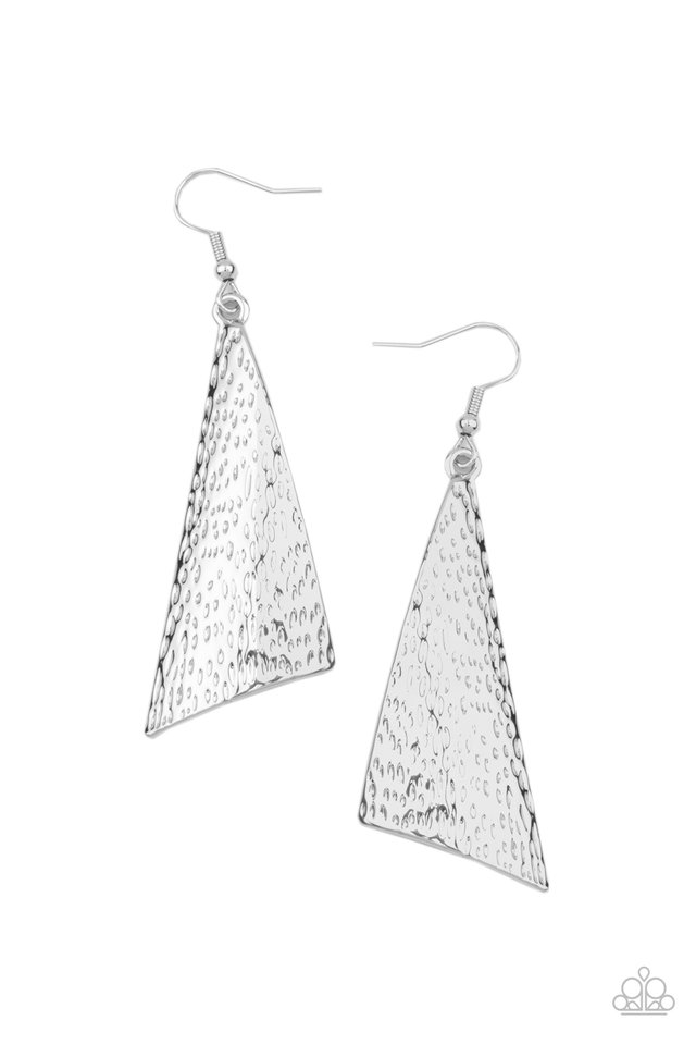 Ready The Troops - Silver - Paparazzi Earring Image