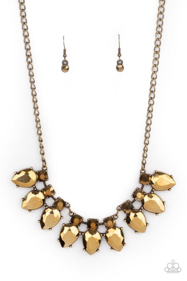 Extra Enticing - Brass - Paparazzi Necklace Image
