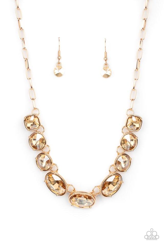 Gorgeously Glacial - Gold - Paparazzi Necklace Image