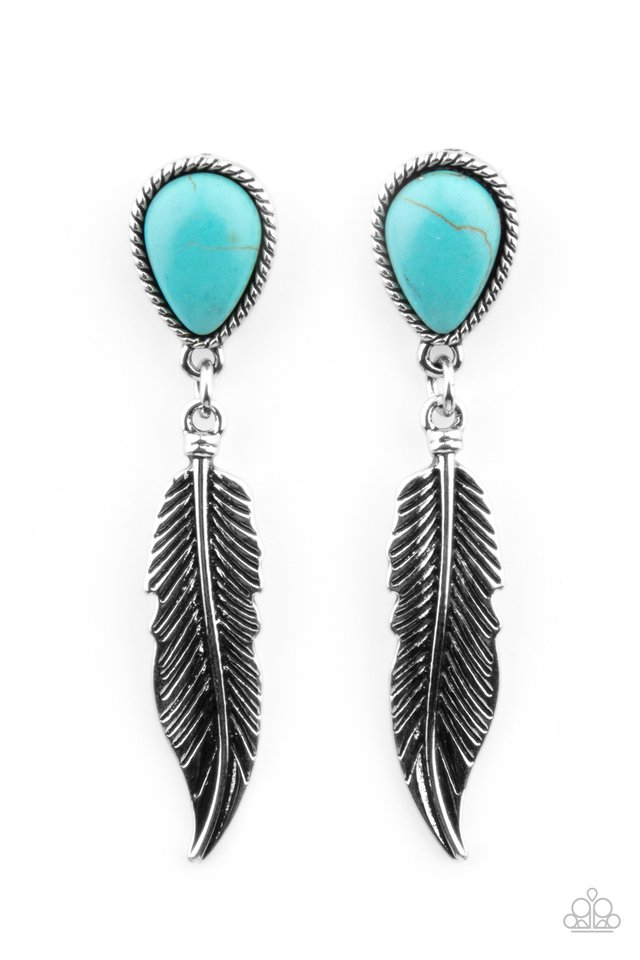 Totally Tran-QUILL - Blue - Paparazzi Earring Image