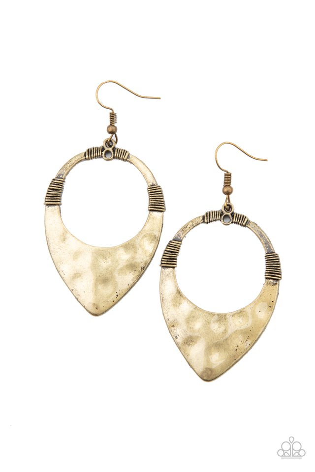 Instinctively Industrial - Brass - Paparazzi Earring Image