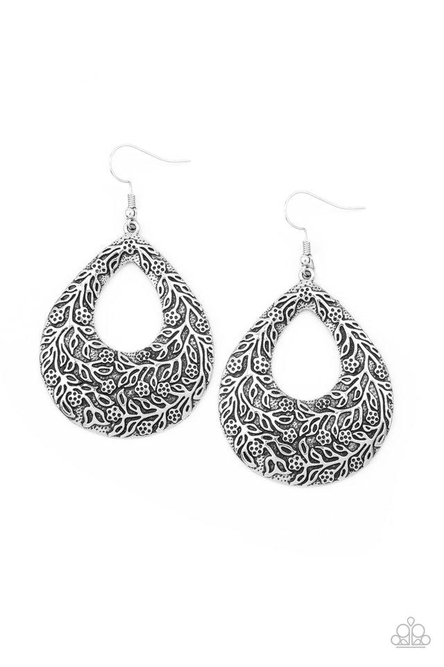 Flirtatiously Flourishing - Silver - Paparazzi Earring Image