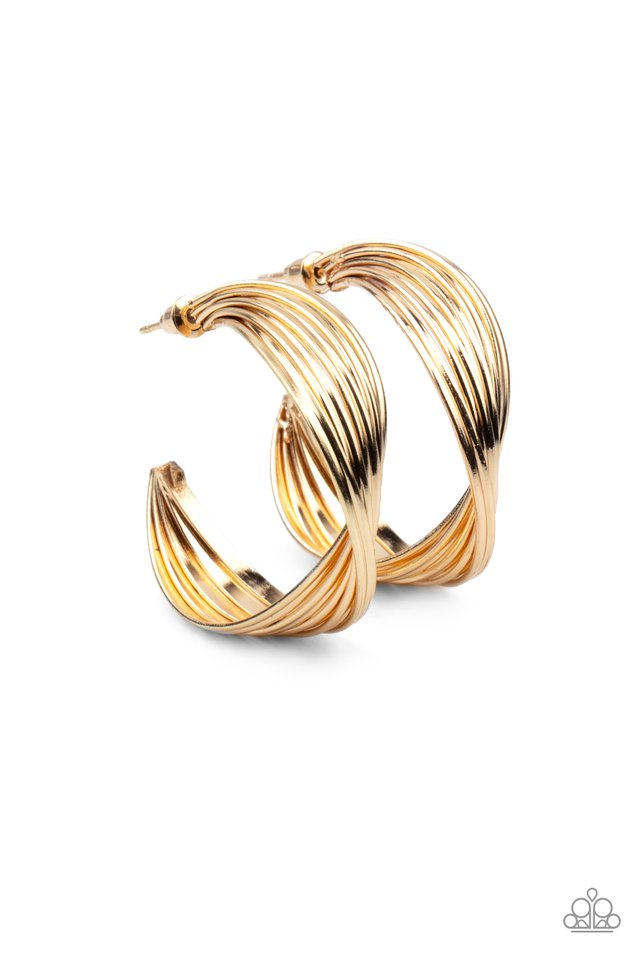 Curves In All The Right Places - Gold - Paparazzi Earring Image