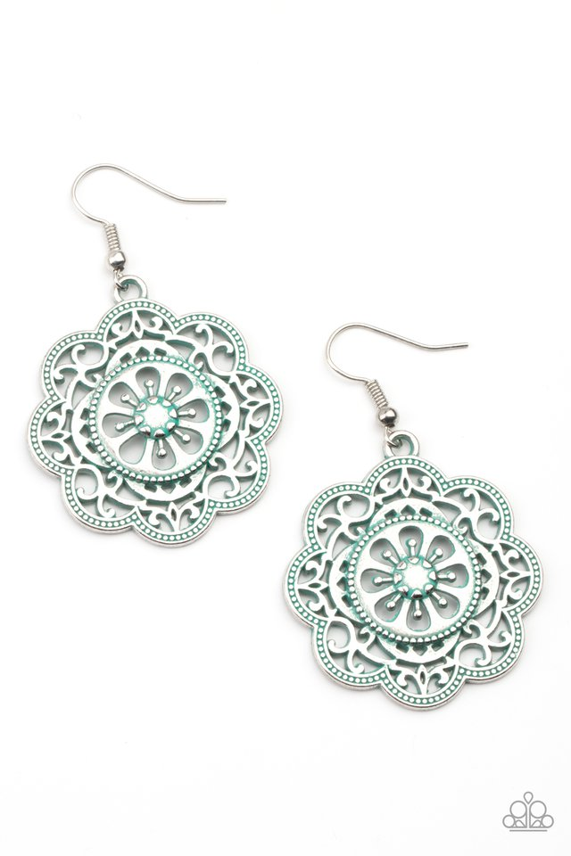 Western Mandalas - Blue - Paparazzi Earring Image