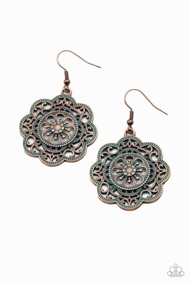 Western Mandalas - Copper - Paparazzi Earring Image