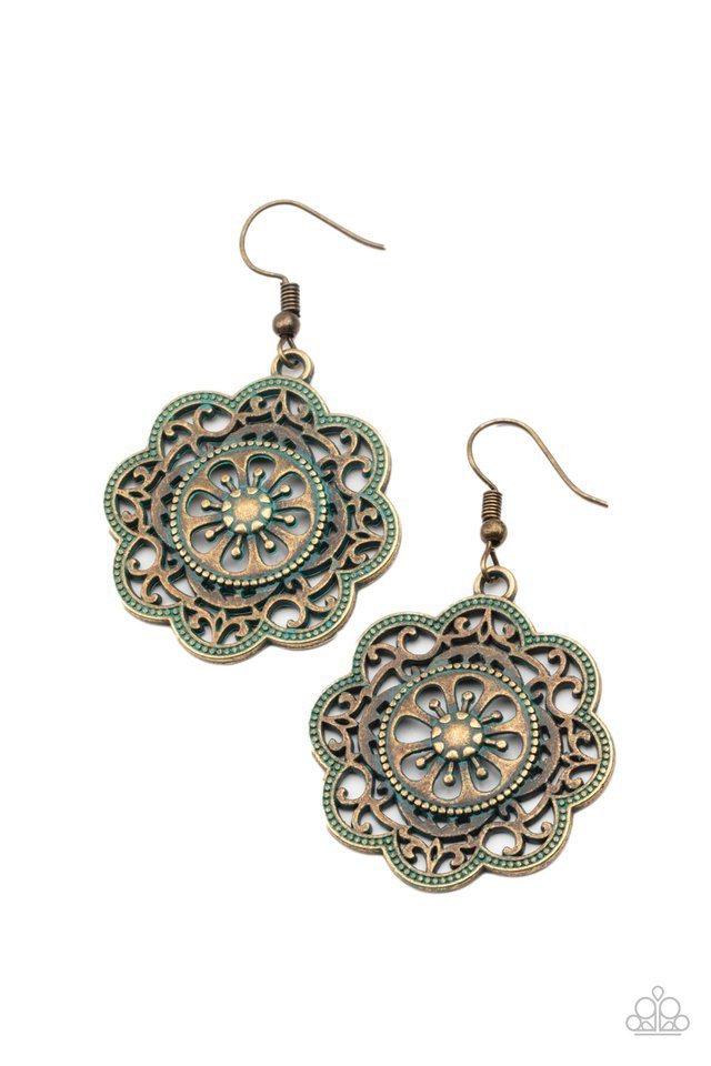 Western Mandalas - Brass - Paparazzi Earring Image