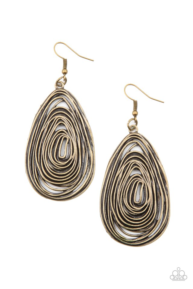 Rural Ripples - Brass - Paparazzi Earring Image