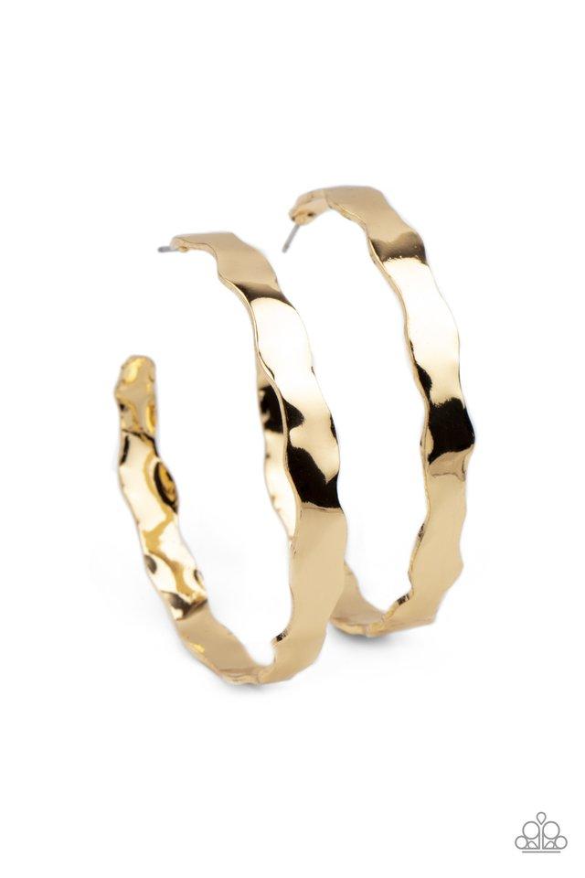 Exhilarated Edge - Gold - Paparazzi Earring Image