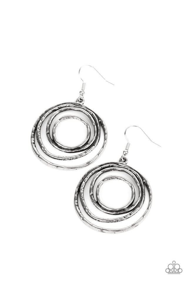 Spiraling Out of Control - Silver - Paparazzi Earring Image