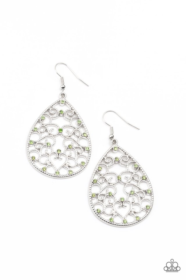 Midnight Carriage - Green - Paparazzi Earring Image