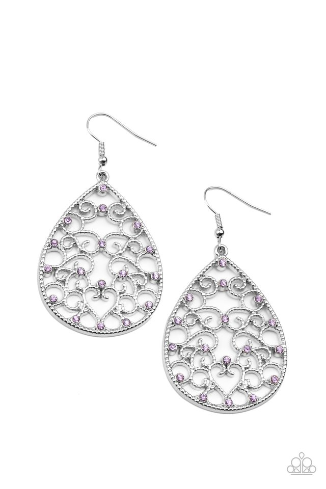 Midnight Carriage - Purple - Paparazzi Earring Image