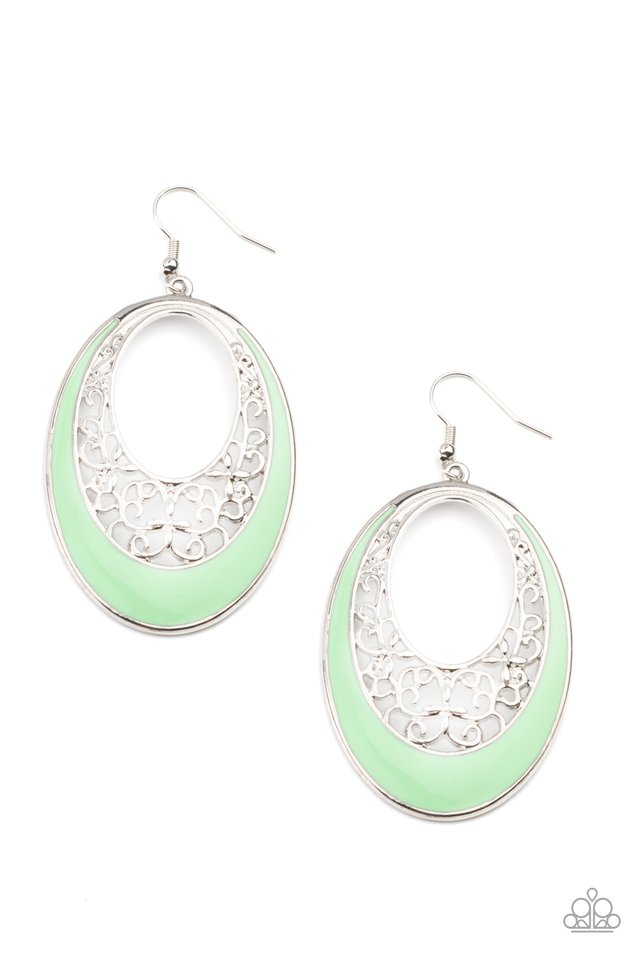 Orchard Bliss - Green - Paparazzi Earring Image