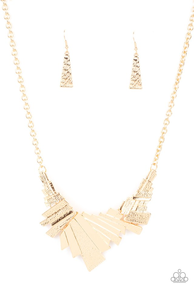 Happily Ever AFTERSHOCK - Gold - Paparazzi Necklace Image