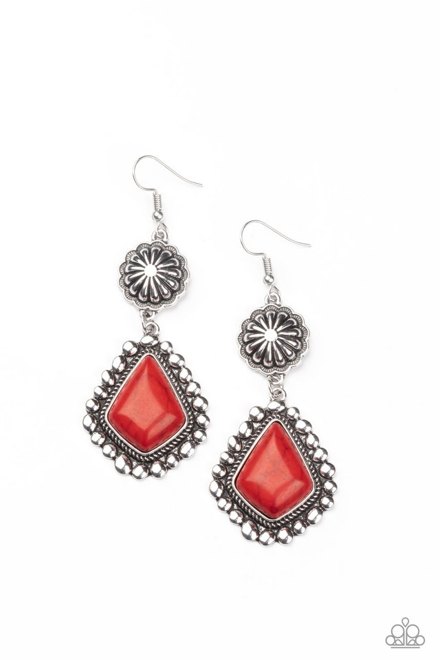 Country Cavalier - Red - Paparazzi Earring Image
