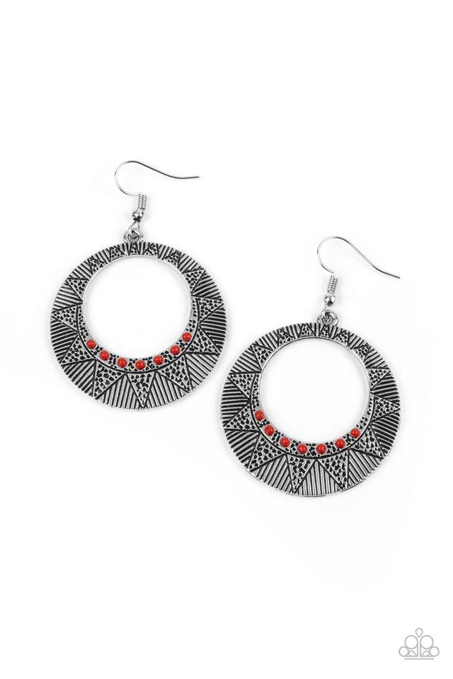 Adobe Dusk - Red - Paparazzi Earring Image