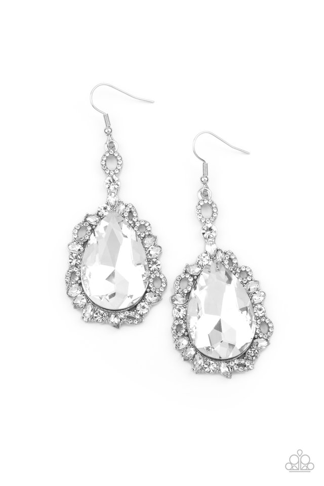 Royal Recognition - White - Paparazzi Earring Image
