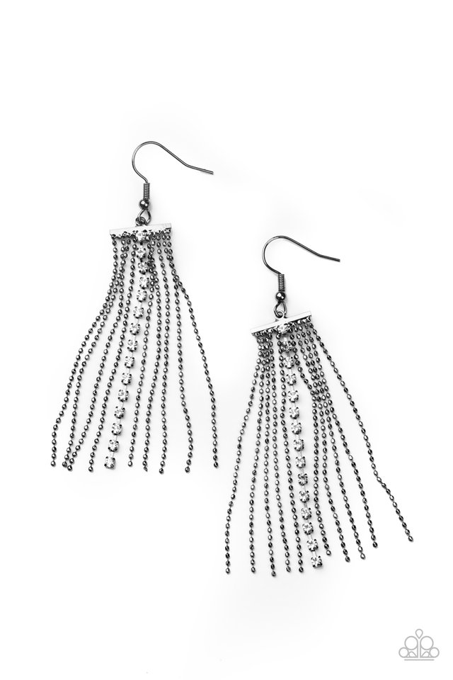 Another Day, Another DRAMA - Black - Paparazzi Earring Image