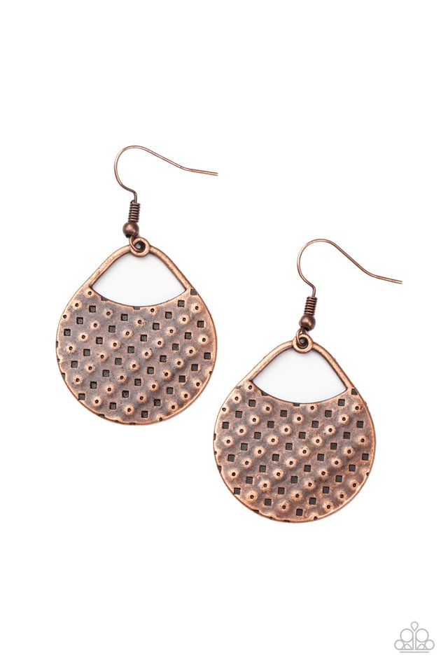Im Sensing a Pattern Here - Copper - Paparazzi Earring Image