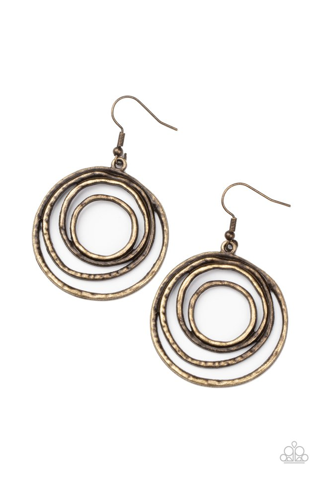 Spiraling Out of Control - Brass - Paparazzi Earring Image