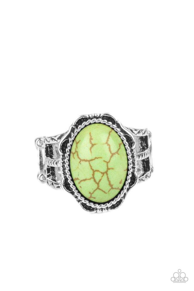 Flowering Dunes - Green - Paparazzi Ring Image
