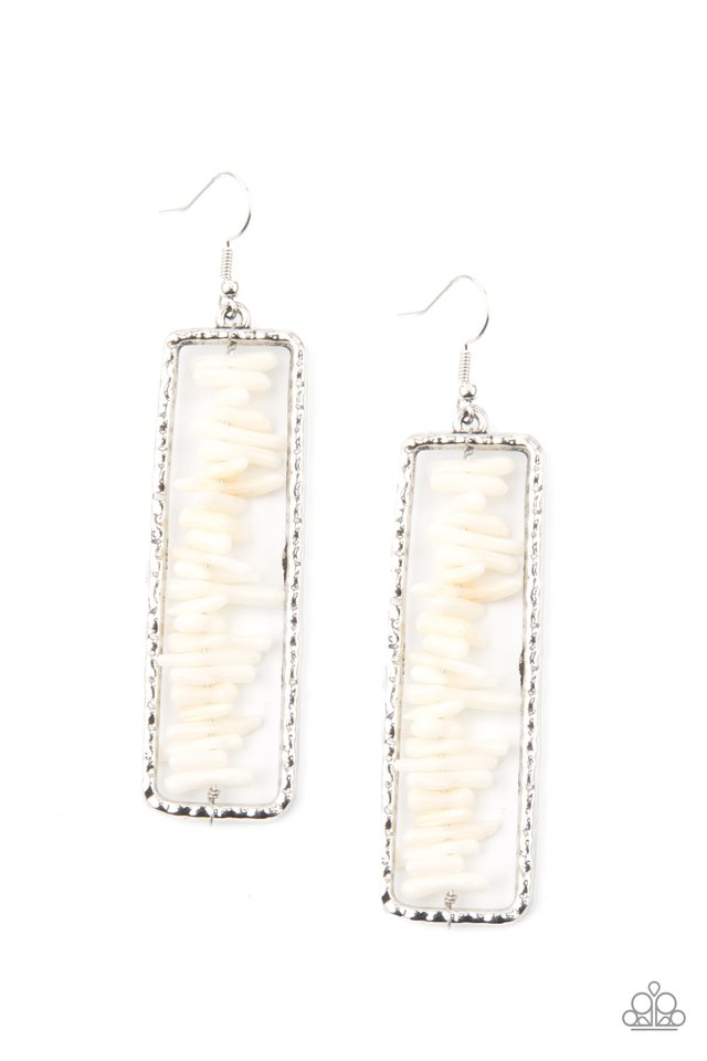 Dont QUARRY, Be Happy - White - Paparazzi Earring Image