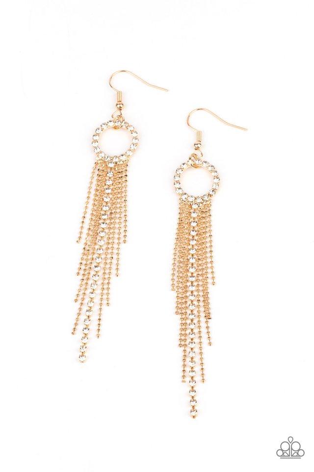 Pass The Glitter - Gold - Paparazzi Earring Image