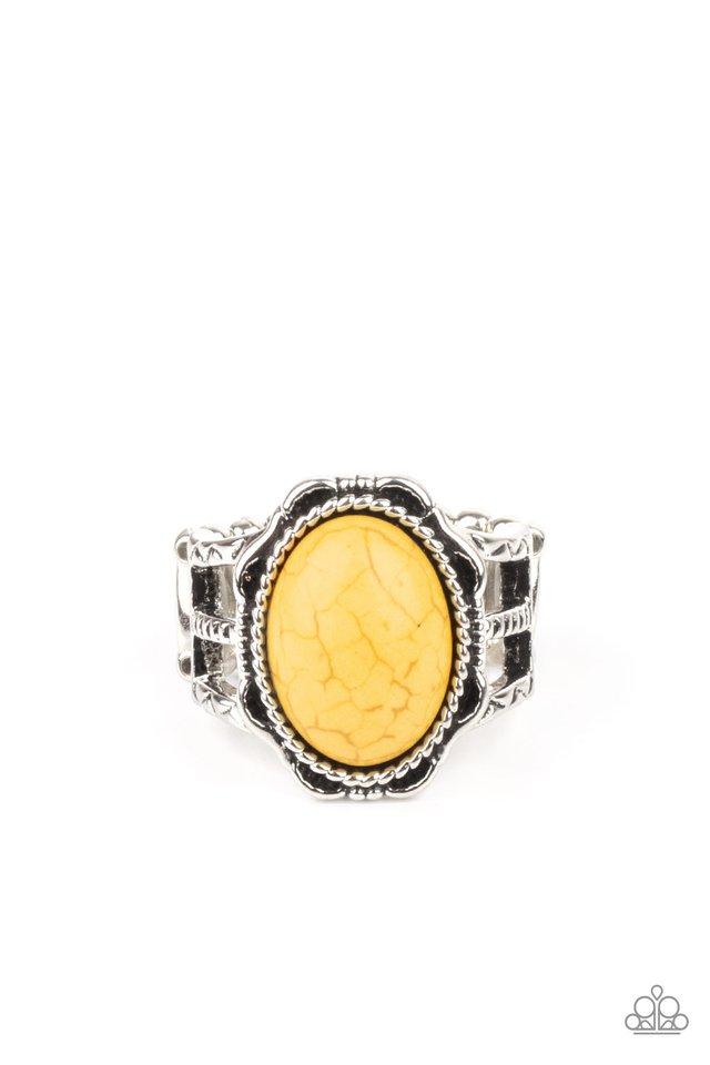 Flowering Dunes - Yellow - Paparazzi Ring Image
