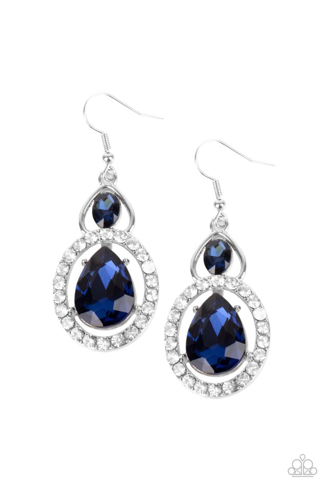 Double The Drama - Blue - Paparazzi Earring Image