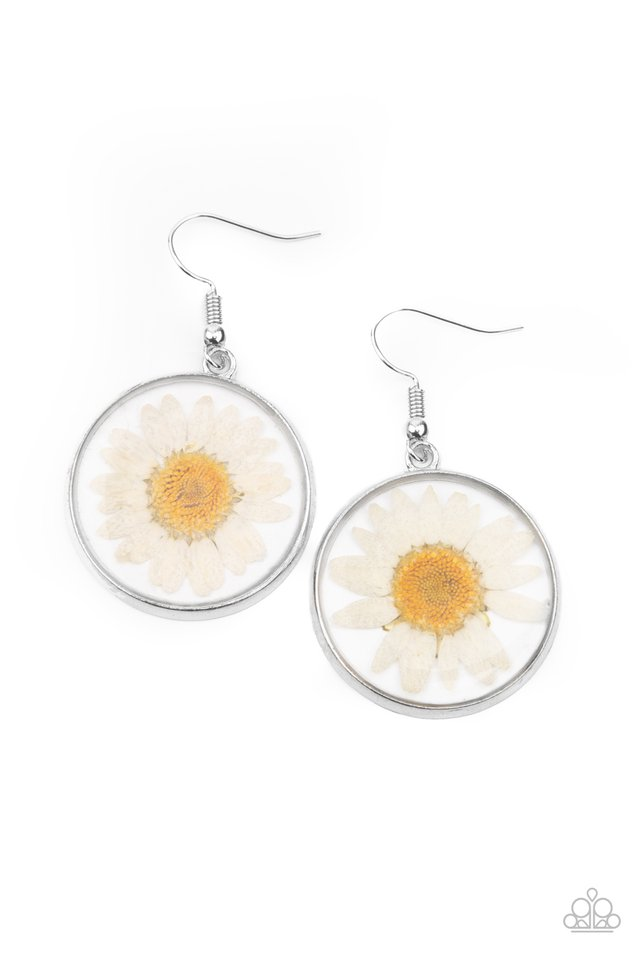 Forever Florals - White - Paparazzi Earring Image