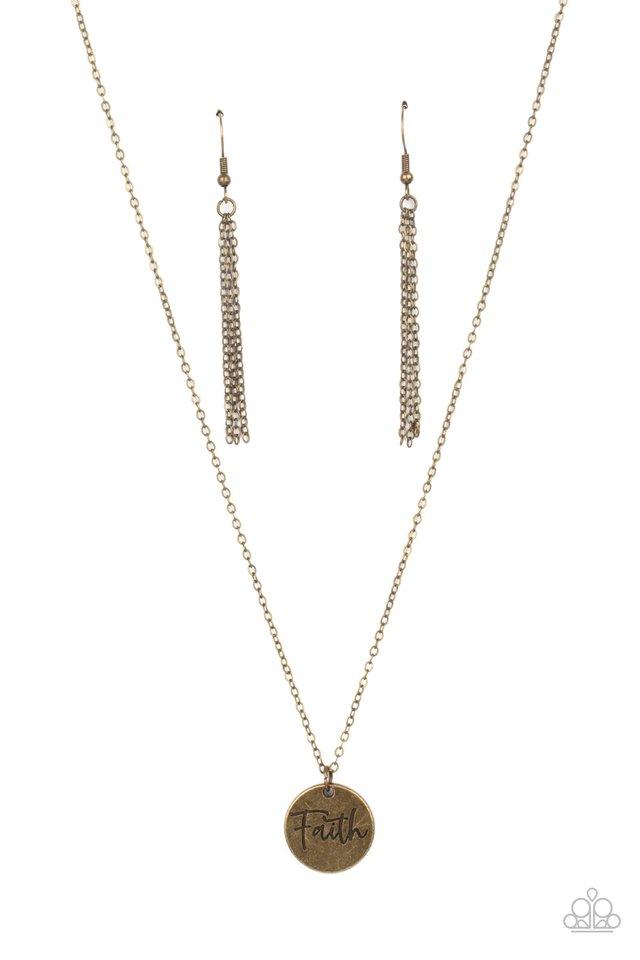 Choose Faith - Brass - Paparazzi Necklace Image