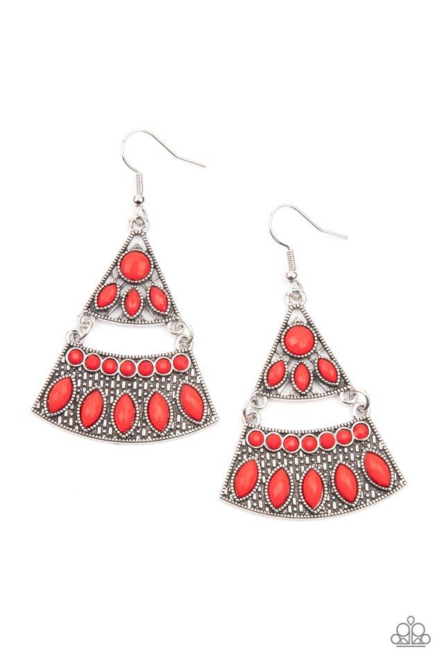 Desert Fiesta - Red - Paparazzi Earring Image