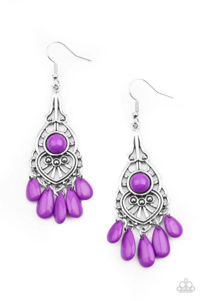 Fruity Tropics - Purple - Paparazzi Earring Image