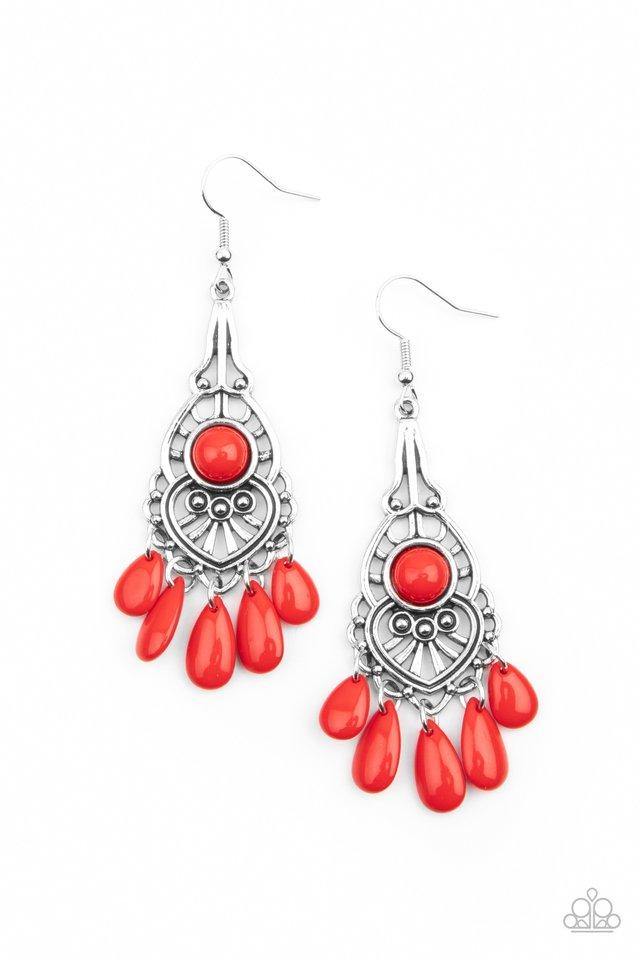 Fruity Tropics - Red - Paparazzi Earring Image