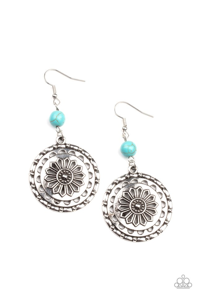 Flowering Frontiers - Blue - Paparazzi Earring Image