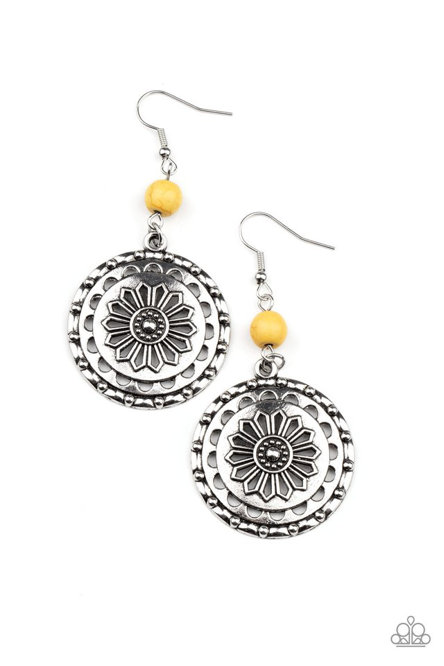 Flowering Frontiers  - Yellow - Paparazzi Earring Image