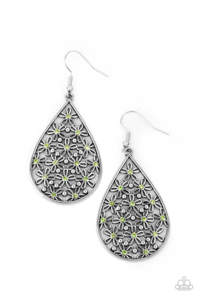 Tick, Tick, BLOOM! - Green - Paparazzi Earring Image