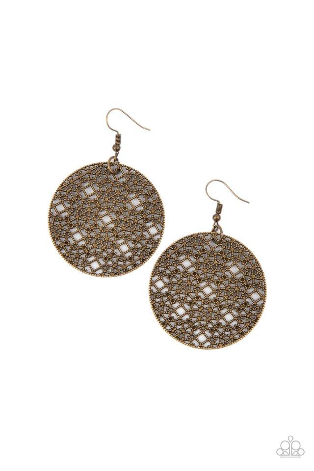 Metallic Mosaic - Brass - Paparazzi Earring Image