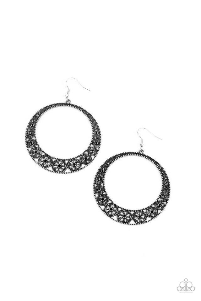 Bodaciously Blooming - Black - Paparazzi Earring Image