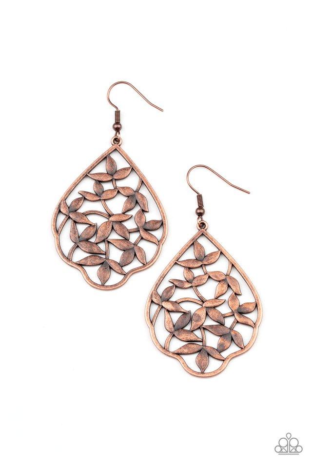 Taj Mahal Gardens - Copper - Paparazzi Earring Image