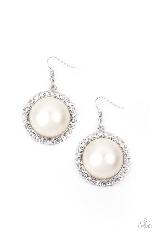 Esteemed Elegance - White - Paparazzi Earring Image